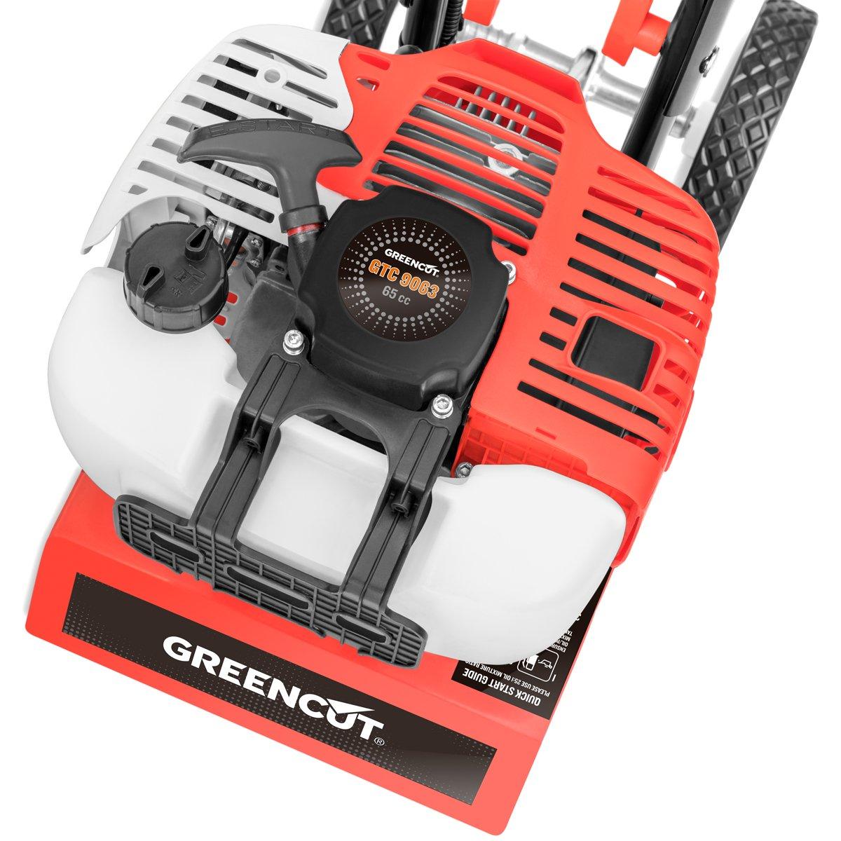 Greencut GTC130X - Motocultor/motoazada compacta con motor de gasolina 65cc y 3,7cv, superficie de trabajo recomendada de 10m2