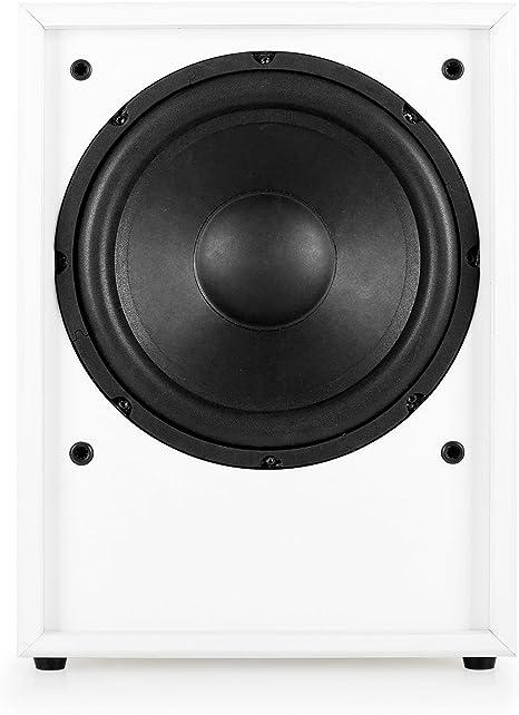 Auna Linie 300 Sw Wh Subwoofer Aktiv Subwoofer Hifi Subwoofer Sub 150 Watt Rms 25cm 10 Tieftöner Integrierter Verstärker Einschaltautomatik Bassreflex Weiß Audio Hifi