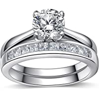 925 Sterling Silver Brilliant Diamond Cut Crystals Accent Love Forever Eternity Engagement Wedding Rings For Women With Gift Box, Ideal Gift.