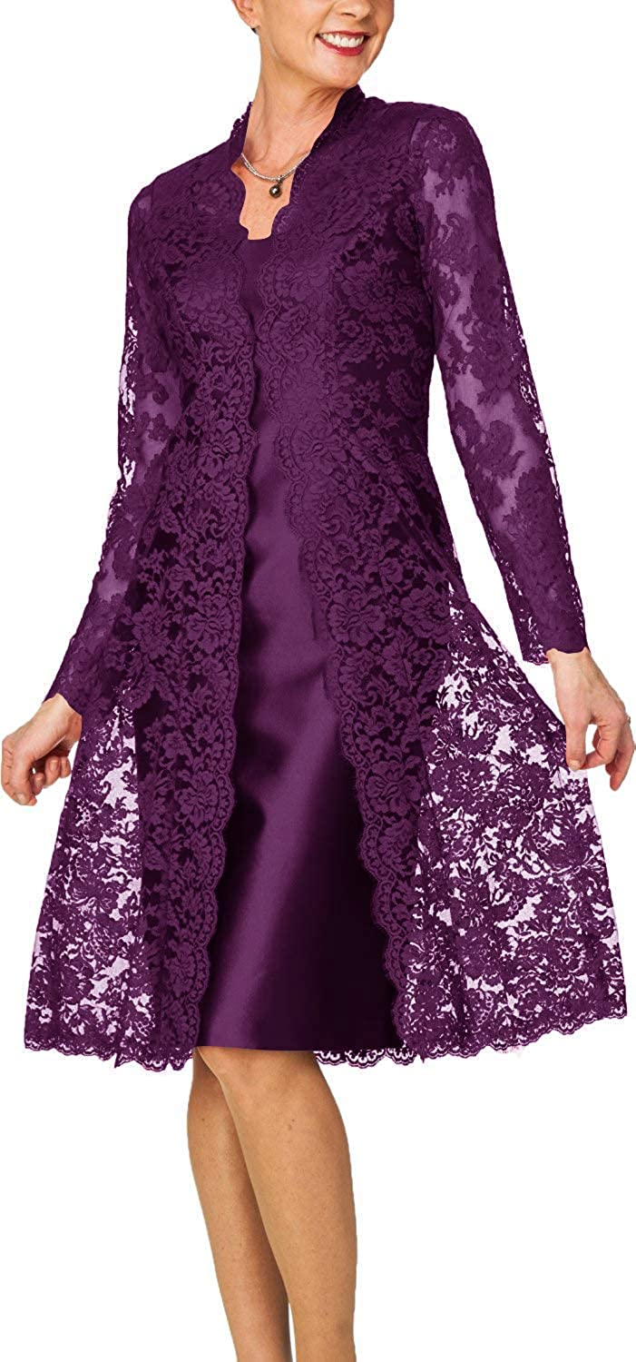 Grape H.S.D Women's Sheath Short Satin Mother of The Bride Dress with Lace Jacket