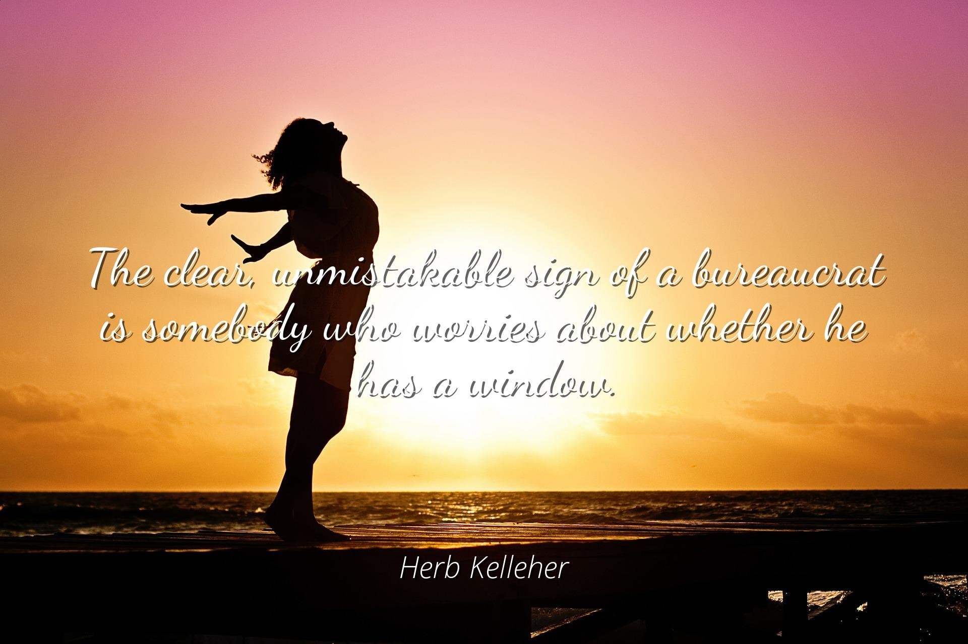 Herb Kelleher - Famous Quotes Laminated Poster Print 24x20 - The Clear, unmistakable Sign of a Bureaucrat is Somebody who Worries About Whether he has a Window.