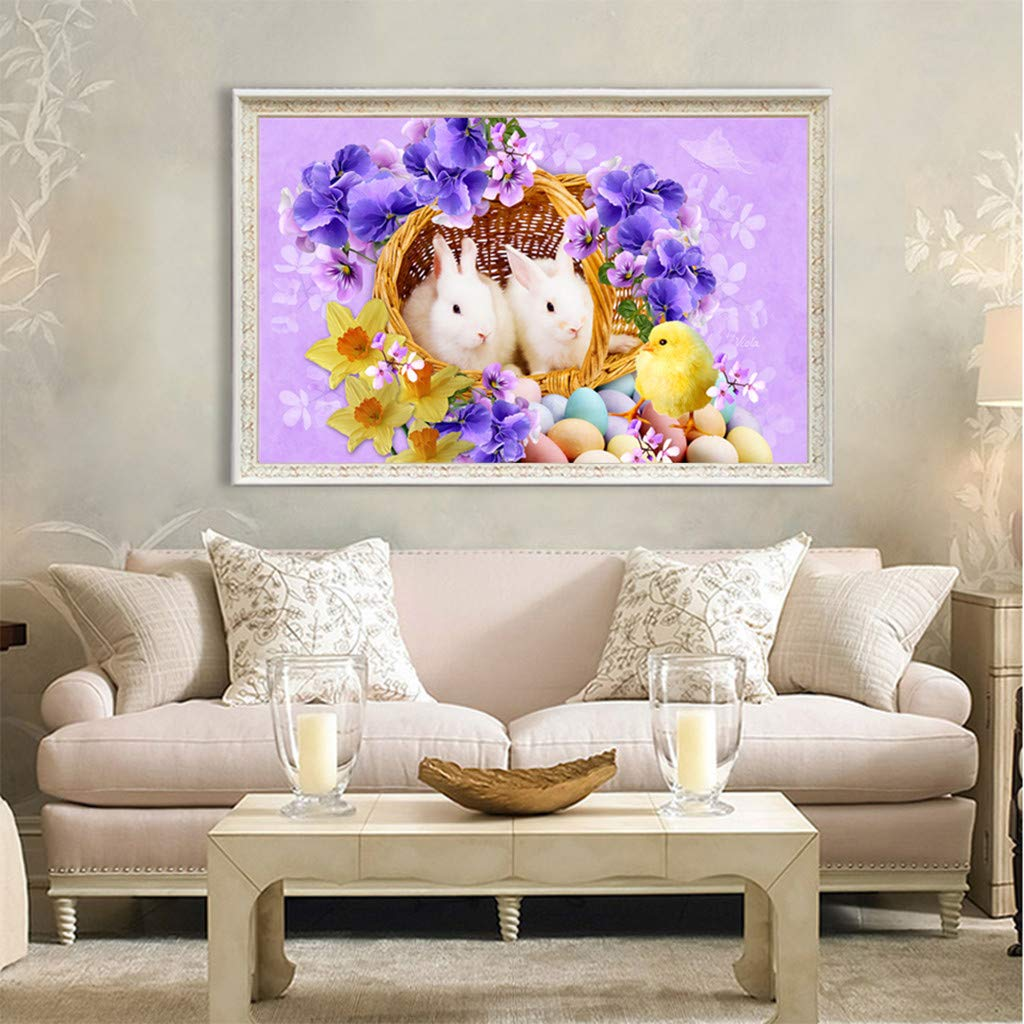 LLguz 5D Rhinestone Pasted Embroidery Painting Set Easter Chick Bunny Egg DIY Diamond Paintings Cross Stitch for Adult,11.7x15.6 Inch