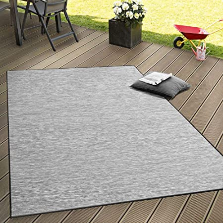 Design in-et outdoorteppich plat tissu unique Noir Crème