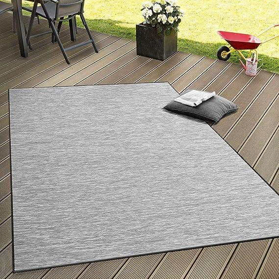Paco Home Alfombra Interior Y Exterior Tejido Liso Terrazas Transición De Color En Gris Tamaño 200x280 Cm