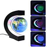 MECO 3'' Magnetic Floating Globe with Colored LED Light World Map Globe for Education, Teaching, Home/Office Desk Decoration, Birthday Gift Blue