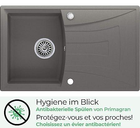 /Évier granit Primagran avec siphon automatique 1 bac Beige /évier de cuisine