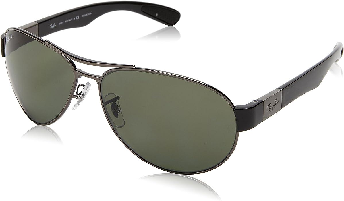 Ray-Ban Wrap gafas de sol Aviator Gunmetal verde polarizado RB3509 004 9A 63 aff17c6bd567