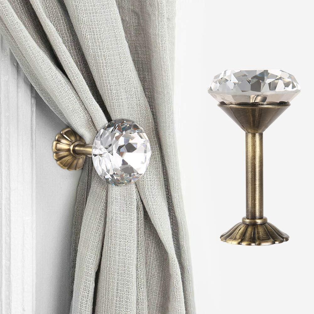 ATopoler 2Pezzi Ganci Fermatenda da Muro di Diamante Decorazione per Tende Supporto per Tenda da Doccia con Base in Metallo a Parete Argento