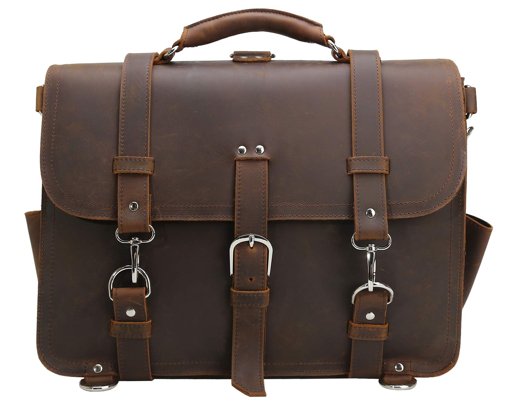 Polare Men's Full Grain Leather 16'' Laptop Briefcase Shoulder Messenger Bag by Polare (Image #9)