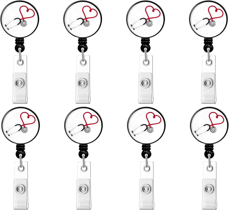 Name ID Card Name Card PHAETON 8PCS Heart Badge Holder Retractable Badge Holder Alligator Clip for Nurse Work Badge