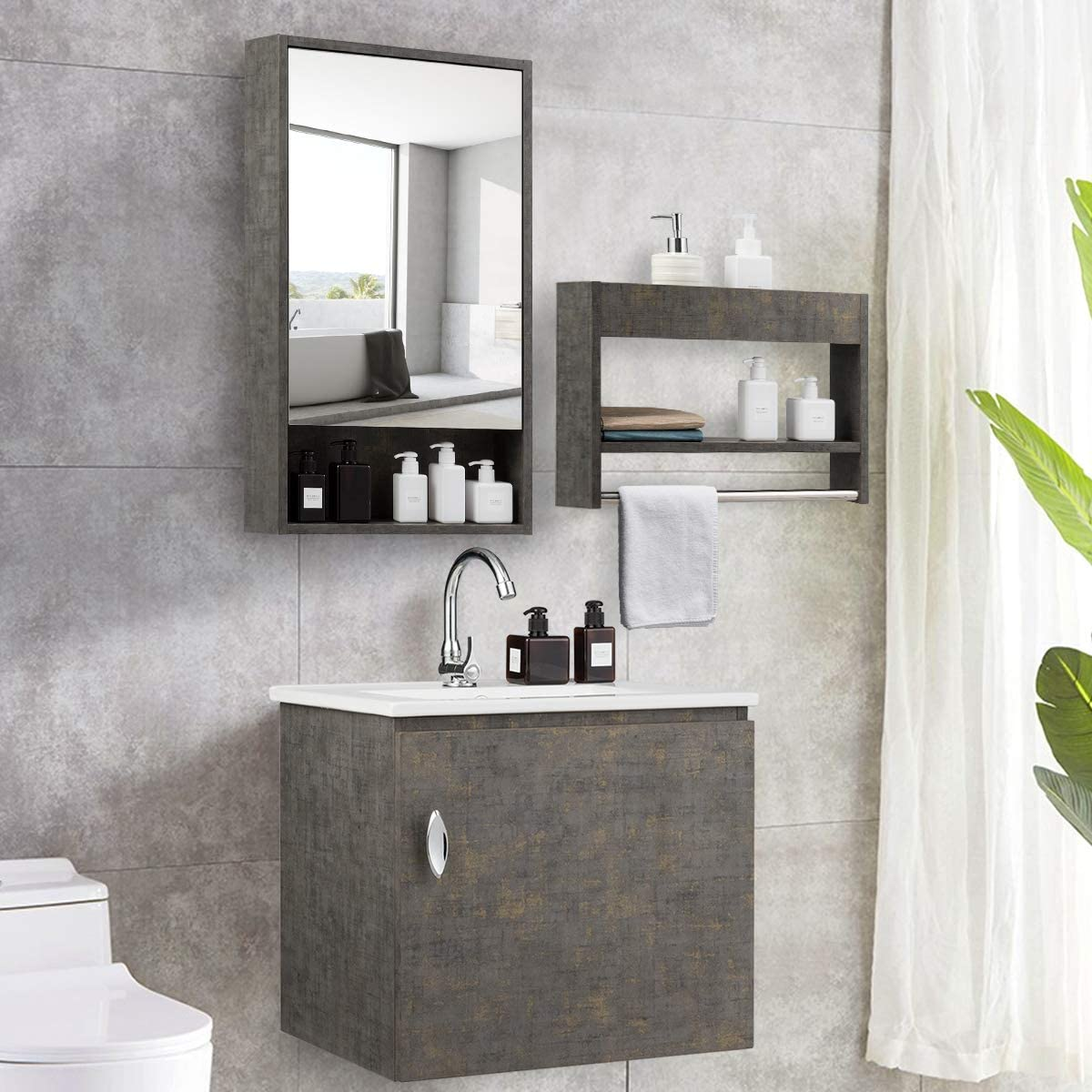 Amazon Com Tangkula Wall Mounted Bathroom Vanity Set Modern Bathroom Vanity Sink Set Storage Cabinet Combinations With Mirror Door Mirror Cabinet Side Storage Rack Main Cabinet Grey Faucet Not Included Kitchen Dining