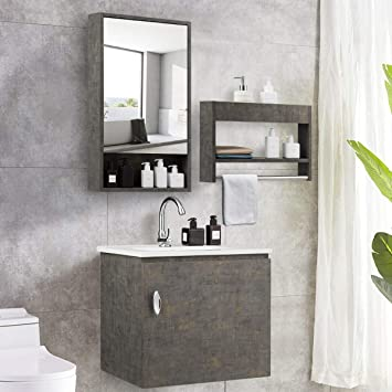 Amazon Com Tangkula Wall Mounted Bathroom Vanity Set Modern Bathroom Vanity Sink Set Storage Cabinet Combinations With Mirror Door Mirror Cabinet Side Storage Rack Main Cabinet Grey Faucet Not Included Kitchen Dining