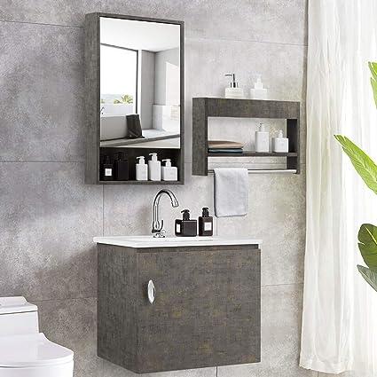 Tangkula Wall-Mounted Bathroom Vanity Set, Modern Bathroom Vanity Sink Set,  Storage Cabinet Combinations with Mirror Door, Mirror Cabinet & Side ...