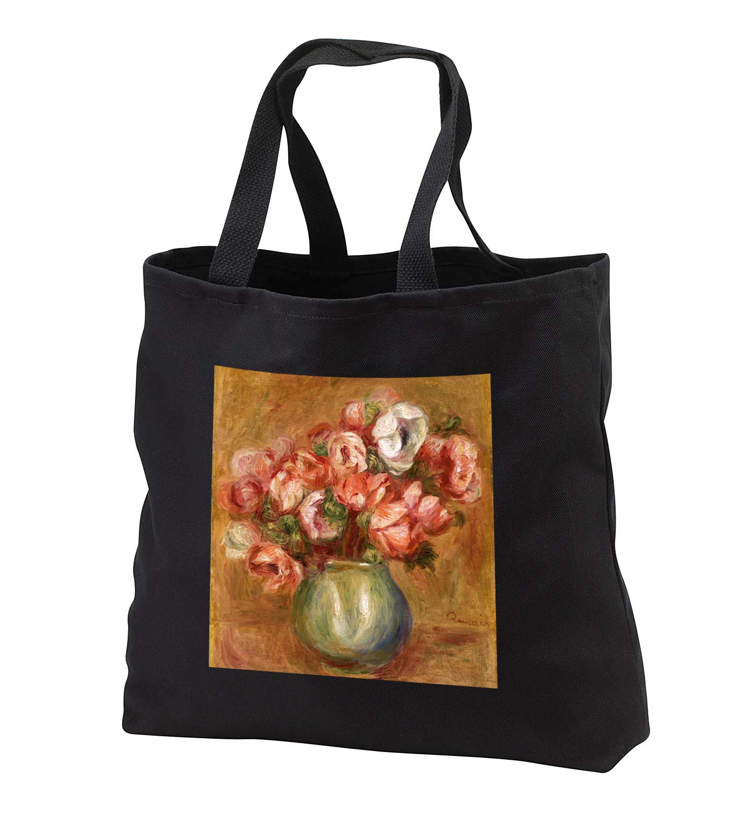 Cassie Peters Florals - Anemones in a Vase by Renoir - Tote Bags - Black Tote Bag JUMBO 20w x 15h x 5d (tb_287078_3)