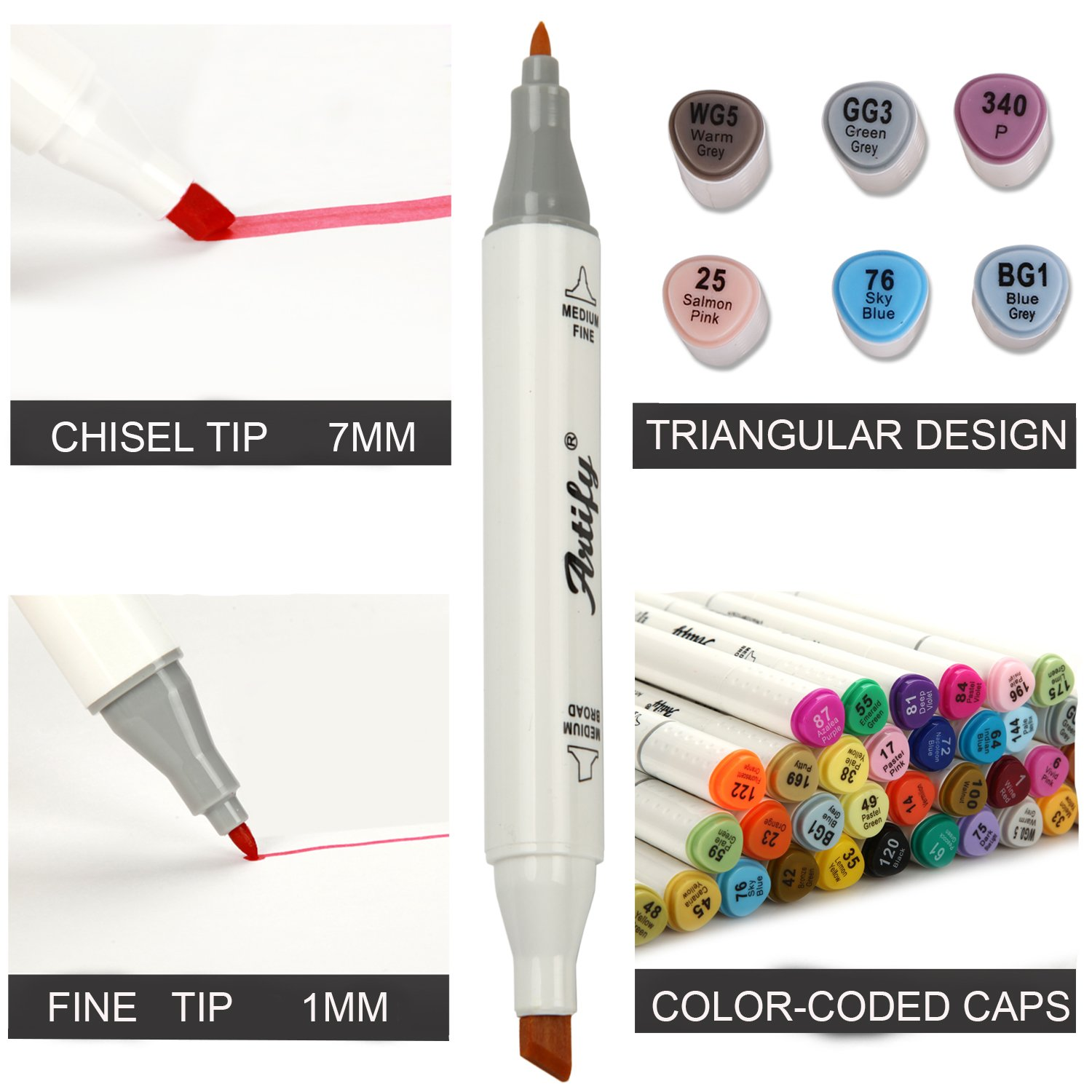 Artify Premium Art Marker Set 40 Colors Dual Tipped Twin Marker Pens with Case
