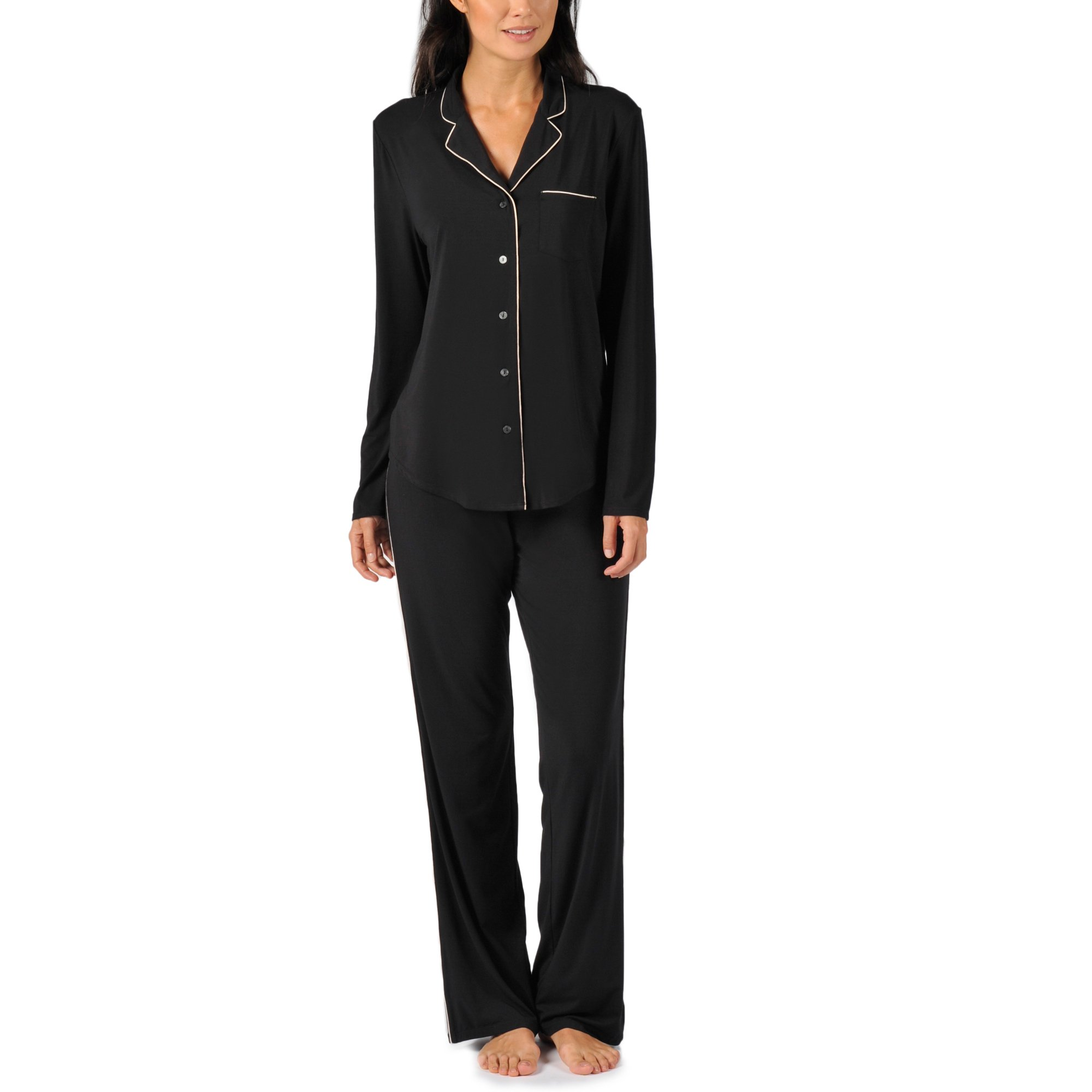 Naked Women's MicroModal Luxury Pajama Set - Sleepwear & Loungewear For Women - Black, Large