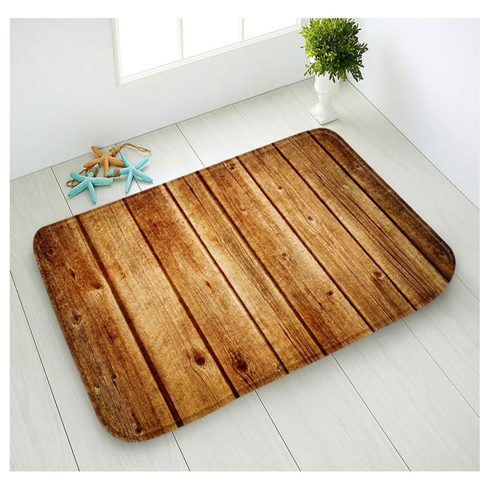 Hidecor Front Door Mat Welcome Outdoor Indoor Rustic Old Barn Wood Doormat Non Slip Carpets Flannel Rug for Bedroom Bathroom Kitchen Patio,18''x30''(Wood Board)