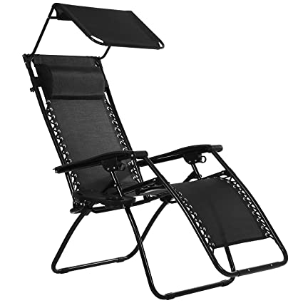 Beau Ollieroo Black Zero Gravity Canopy Sunshade Lounge Chair With Pillow And  Utility Tray Adjustable Folding Recliner