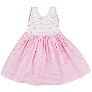 41f9bb998bb Girls Sleeveless Smocked Dress with Hand Embroidered Floral Design on  Front  Amazon.co.uk  Clothing