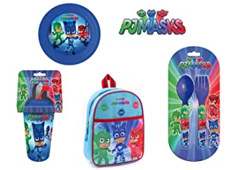 Juego de Máscaras PJ Backpack + Plate + Cutlery + Glass with Straw PJ Masks