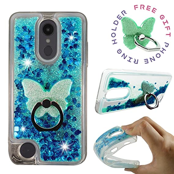 LG Aristo 2 Plus Case, LG Tribute Dynasty LG Fortune 2 LG Rebel 3 LTE, LG  Zone 4, LG K8 2018 [Liquid Glitter Sparkly Bling] Clear Case ShockProof