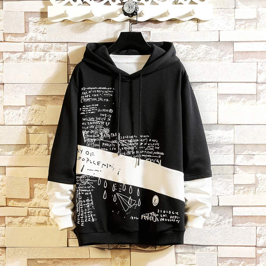 LIUguoo Mens Contrast Color Pullover Hoodie Patchwork Hoodies Letter Print Pullover Sweatshirt Plus Size