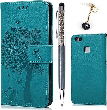 Cover per Huawei P9 Lite Cover, Flip Custodia Libro Pelle PU e TPU Silicone con Funzione Supporto Chiusura Magnetica Portafoglio Libretto Bumper Case ...