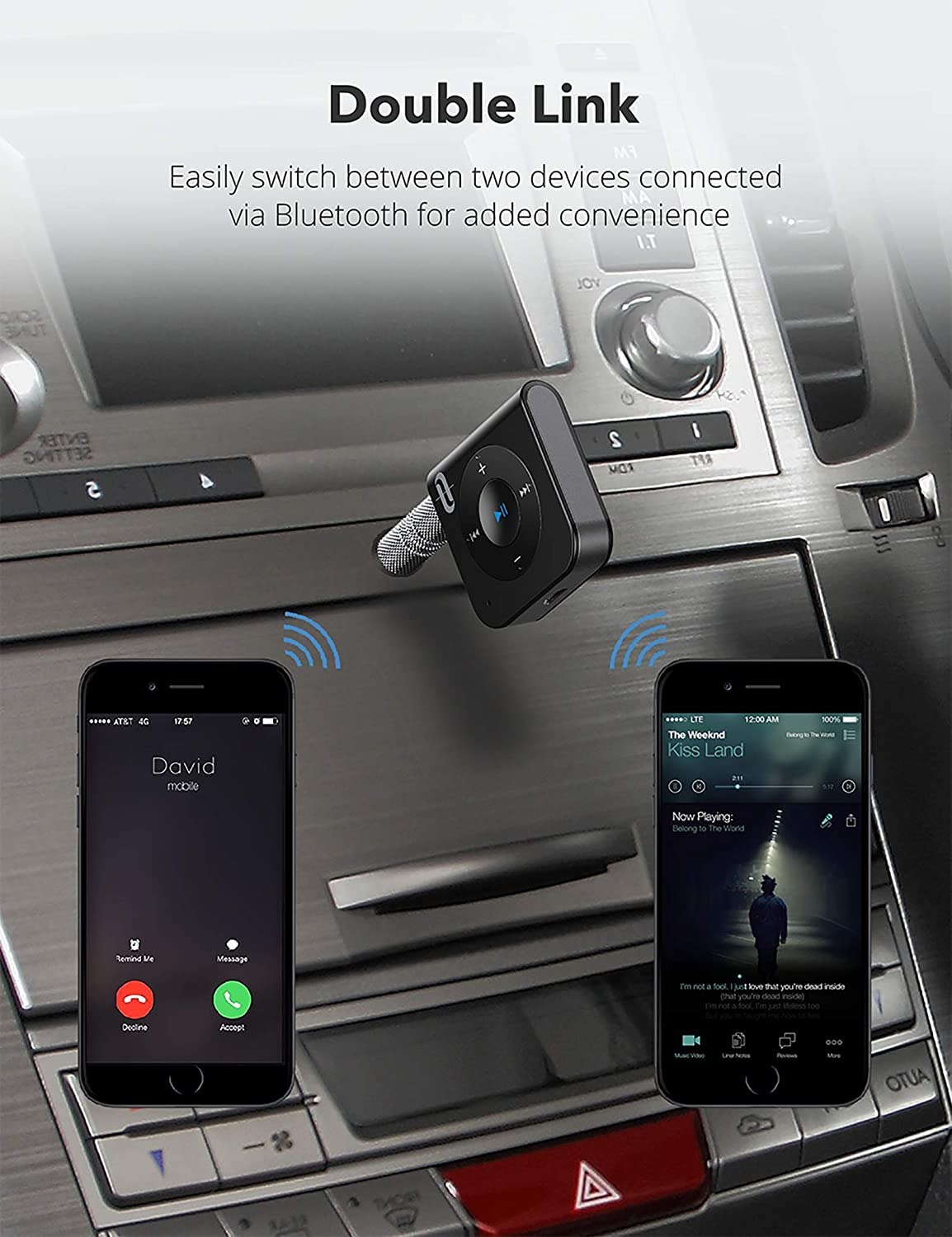 CVC Noise Cancelling for Home Stereo Music Hands-Free Calling TaoTronics Bluetooth Car Kit Bluetooth Receiver 5.0 A2DP