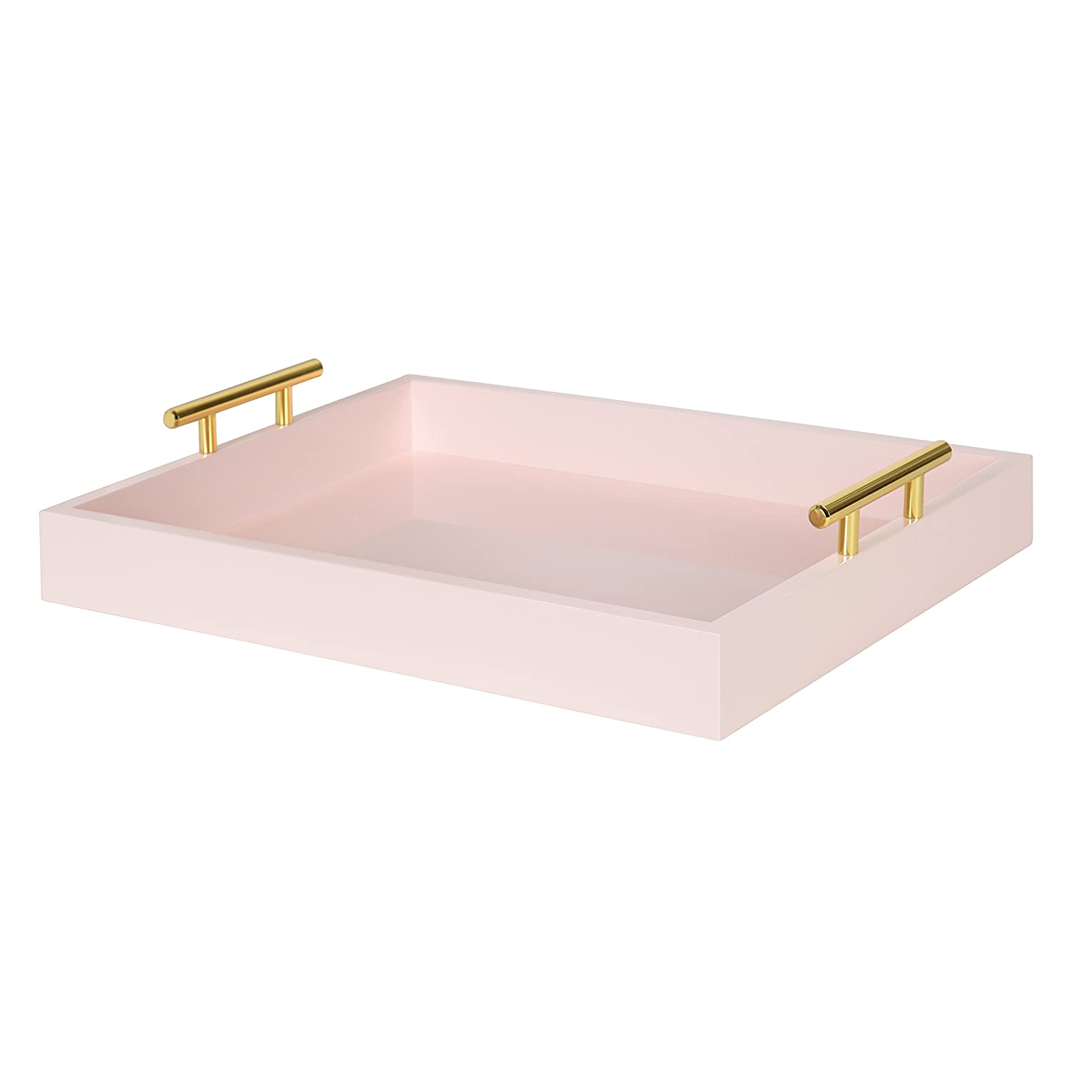 Kate and Laurel Lipton Decorative Wood Tray with Metal Handles, 16.5x12.25, Pink