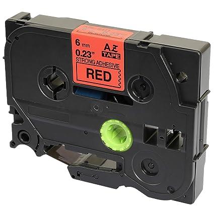 Compatible Casete Brother TZe-S411 TZ-S411 negro sobre rojo 6mm x ...