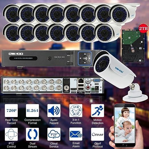 2 opinioni per OWSOO 16ch Full 720P 1500TVL AHD DVR Sistema di Sicurezza P2P Nube Rete Digitale