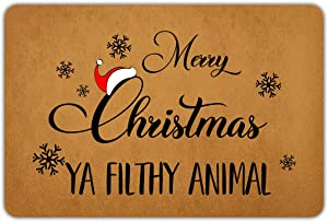 Naiteu Christmas Door Mat Merry Christmas Ya Filthy Animal Outside Welcome Mats for Front Door Rubber Non Slip Backing Funny Doormat Indoor Outdoor Decorative Rug 23.6