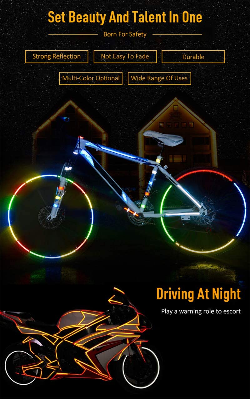 MINQISU Reflective Stickers Weatherproof High Intensity Bike Stickers 800cm1cm car Motorcycle Sticker for Outdoor Cycling Security Protection