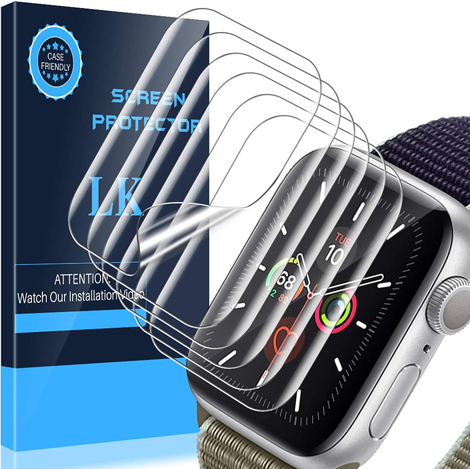 LK [6 Pack] Screen Protector for Apple Watch Series 6/5 / 4 44mm, Max Coverage, Compatible with iWatch 44mm, Ultra-Thin Clear TPU Film(apjp020)