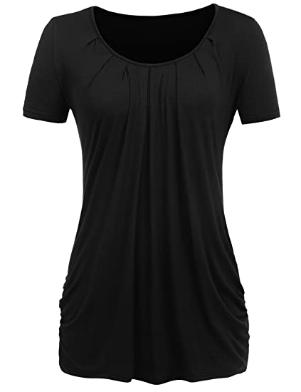 e86aee924bc Halife Women's Short Sleeve Scoop Neck Pleated Front Fitted Blouse Shirt  Black S
