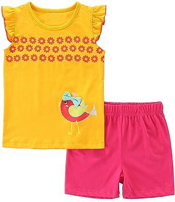 Amazon Com Bumeex Conjunto De Ropa De Verano Para Nina Parte Superior Y Pantalones Cortos Clothing