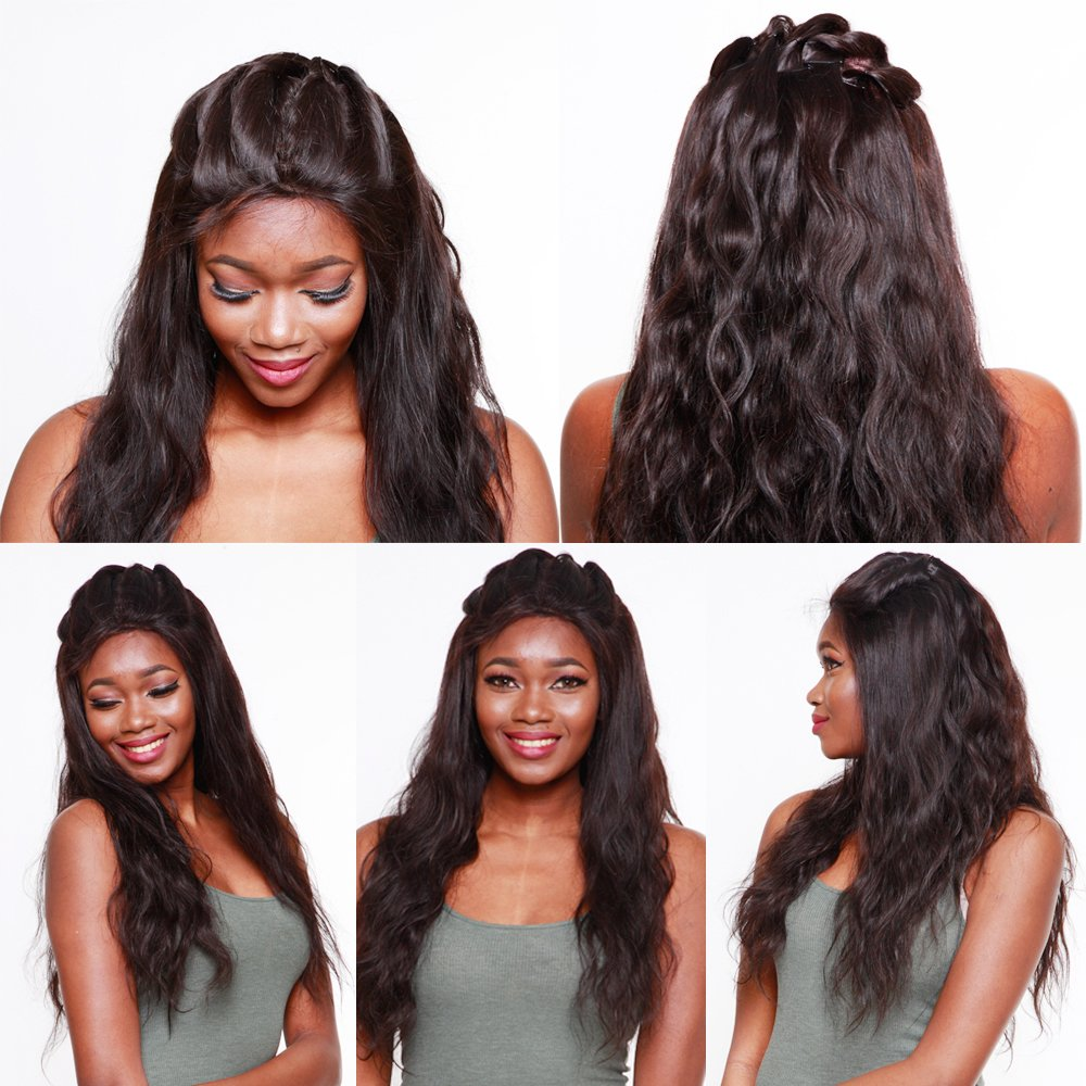 R&S 100% 14Inch Real Virgin Full Lace Human Hair Wigs Plus Density Increase 40% Especially Lifelike With Baby Hair 8A Quality Unprocessed Can be Arbitrarily Perm & Bleach the Wigs