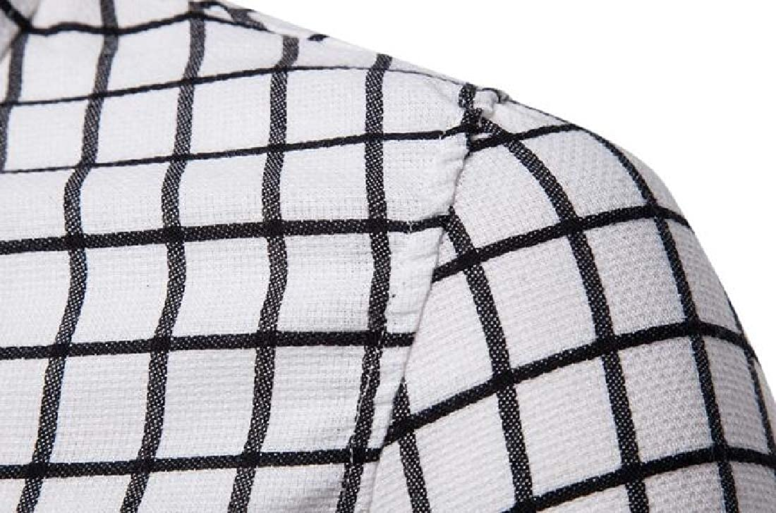 YYG Mens Slim Fit 商务格子 Button Down Long Sleeve Dress Shirts