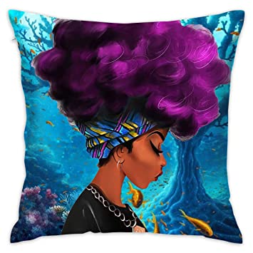 NEHomer African Women Hold Pillow Home Square Cotton Polyester Fleece+  Polyester Cotton Sofa Decorative Pillow Zippered 278287eab
