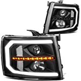 Pair Black/Clear C-Style LED DRL Sequential Amber Turn Signal Headlight Lamps Replacement for Chevy Silverado 07-14