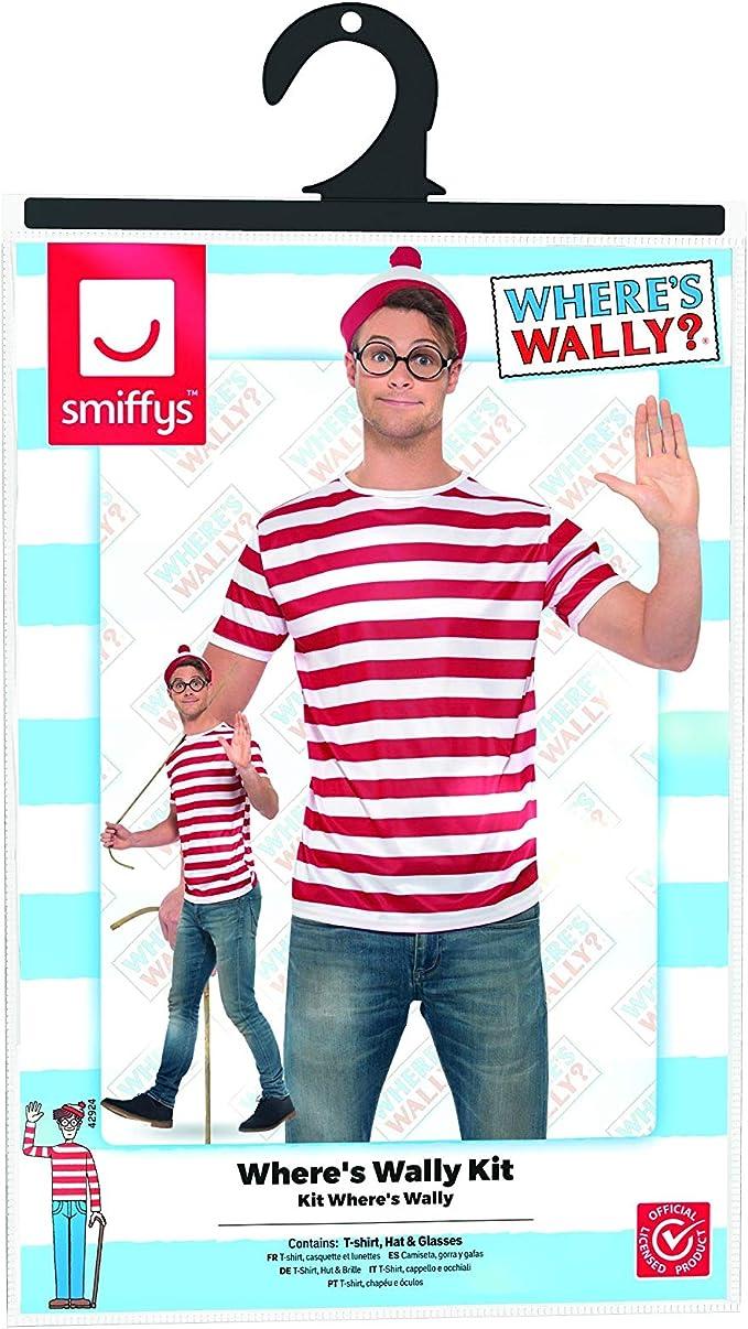 Smiffys Unisex, kit de accesorios oficial de Wheres Wally con ...