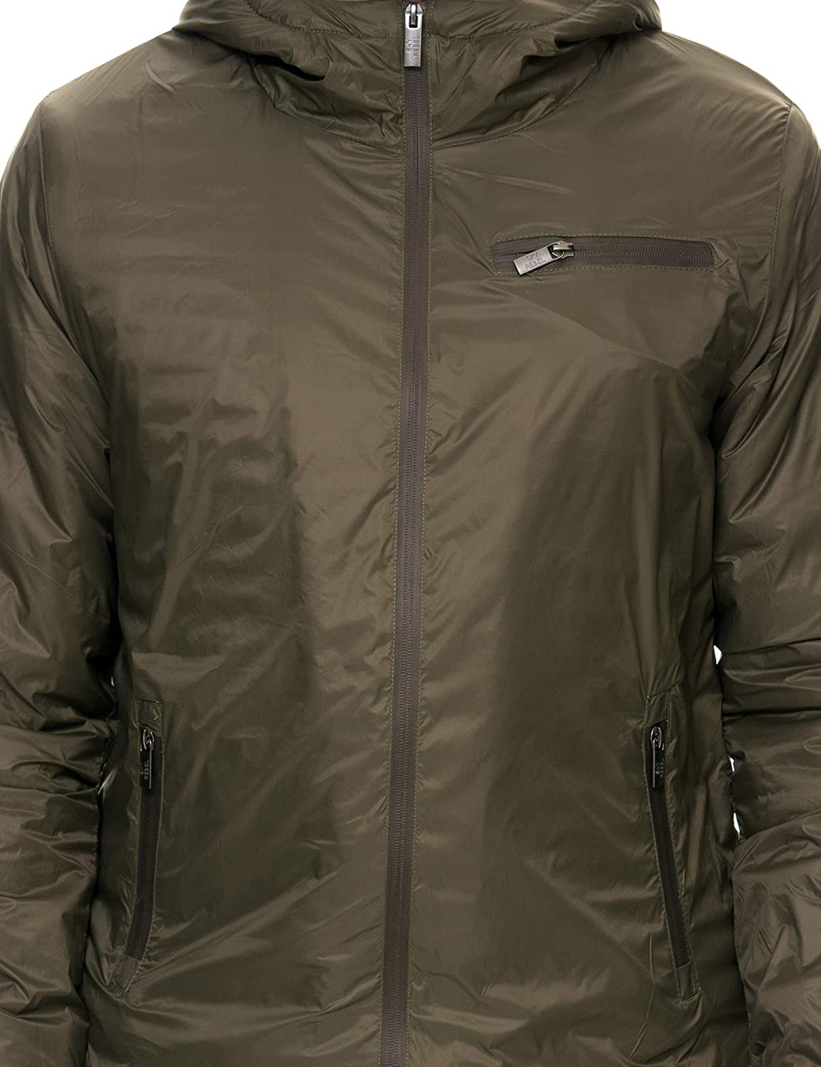 Sky Rebel Mens Khaki Jacket with Hood