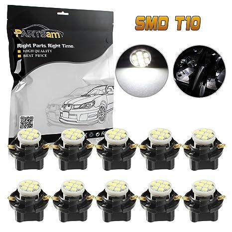partsam 10pcs blanco T10 194 168 LED Luz Bombilla 8-epistar-smd con sockets
