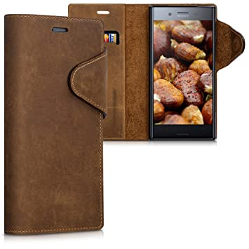 kalibri Funda para Sony Xperia XZ Premium - Carcasa con [Tapa magnética] de [Cuero] - Case de Piel Real en [marrón]
