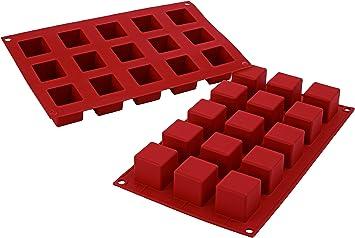 Image ofSF105 Molde de Silicona, 15 cavidades con Forma de Cubo, Color Terracota