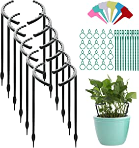 12 PCS Plant Support, 9.8in Garden Flower Support Stake with 20 Plant Stem Clips, 6 Labels, 10 Ties, Half Round Plastic Plant Cage Holder, Flower Pot Climbing Trellis for Small Plant Vegetable