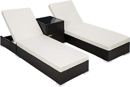TecTake 800153 2X Tumbona Chaise Longue de Aluminio Poli Ratán + Mesa de Jardín + 2 Set de Fundas Intercambiables + Funda Completa (Negro | No. 401500): Amazon.es: Jardín
