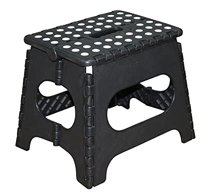 Excellent Jeronic 11 Inch Plastic Folding Step Stool Black Creativecarmelina Interior Chair Design Creativecarmelinacom