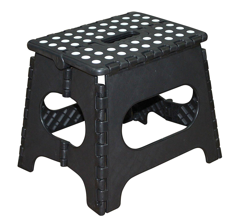 Jeronic 11 Inch Plastic Folding Step Stool Black Amazon