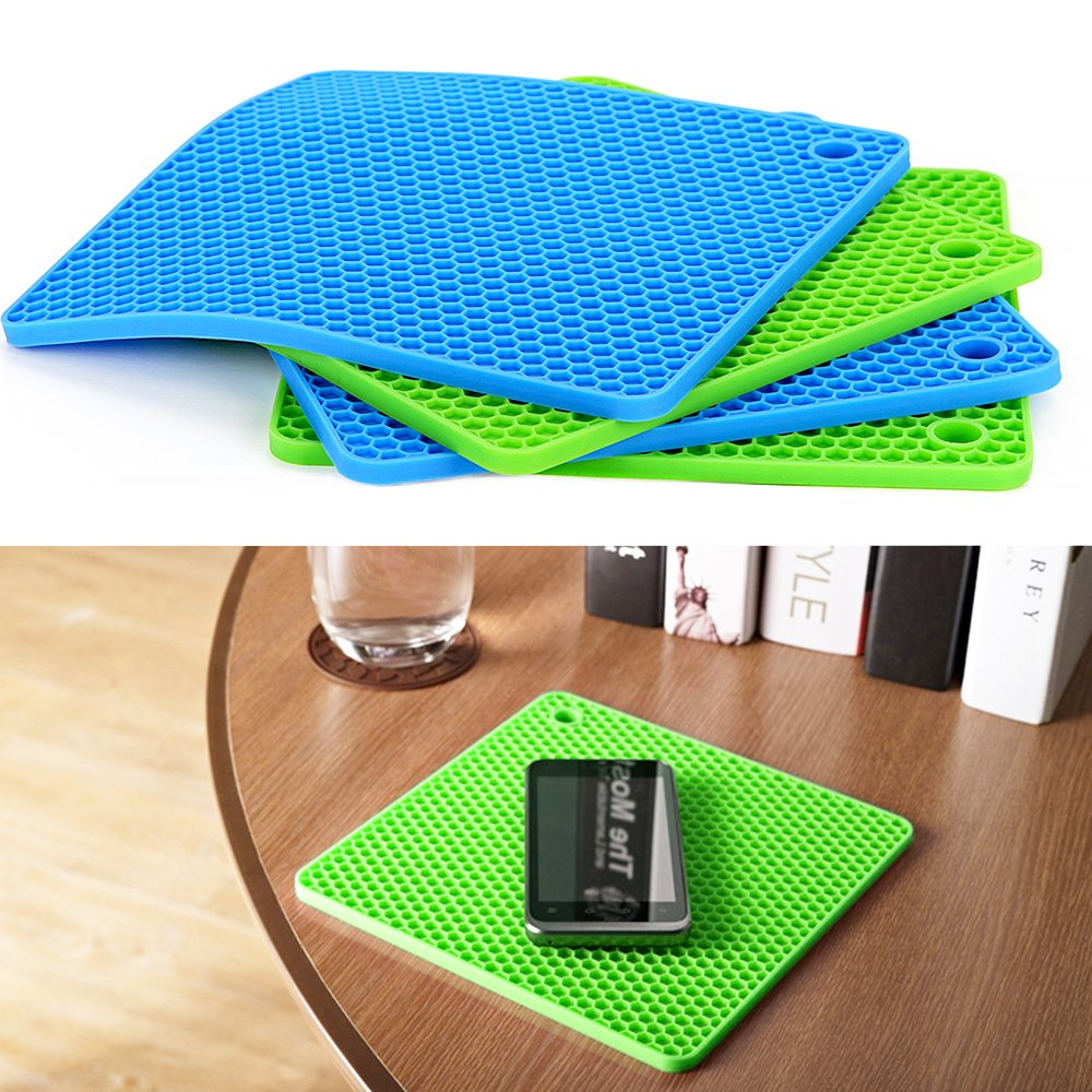 Silicone Pot Holders (Set of 4), Ankway Silicone Trivets Multi-Purpose Hot Pads Heat Resistant to 450 °F, Non-slip, Insulation, Durable, Flexible Trivet for Table Kitchen(2 Blue & 2Green) by Ankway (Image #8)
